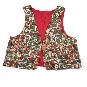 Vintage Ugly Christmas Santa Tree Holiday Vest